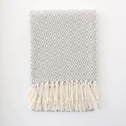 Plaid 100% coton gris & blanc Casa Cubista