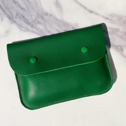 Grande pochette en cuir vert