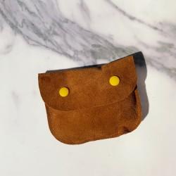 Petite pochette en cuir marron
