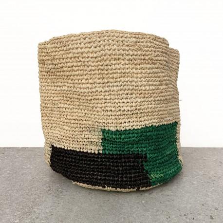 Panier moyen rectangles noir & vert menthe