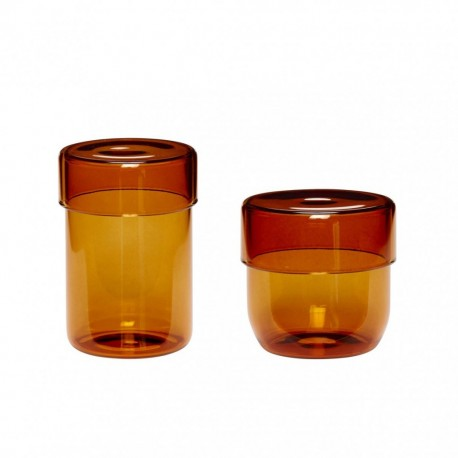 2 boites en verre ambré petits modeles
