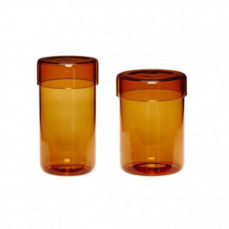 2 boites en verre ambré grands modeles