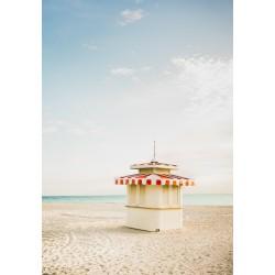Affiche Miami beach Cabine kiosque 30 x 40 cm