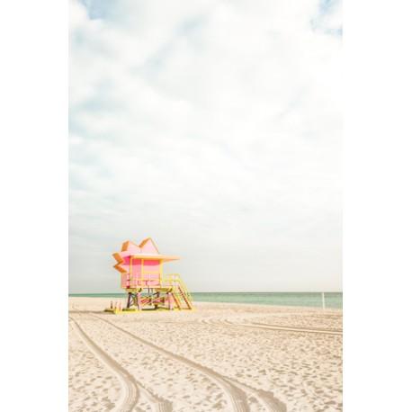 Affiche Miami beach Cabine rose 30 x 40 cm