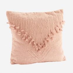 Coussin brodé rose avec franges 100% coton Madam Stoltz