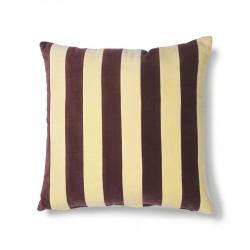 Coussin en velours rayé jaune et violet 50x50cm