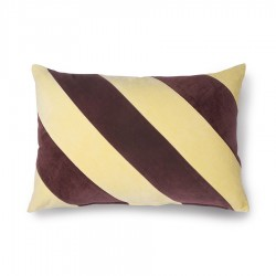Coussin en velours rayé jaune et violet 40x60cm