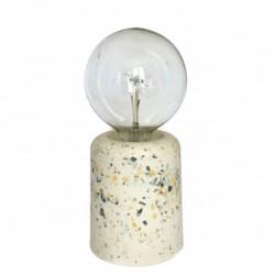Lampe Vase terrazzo blanche et moutarde