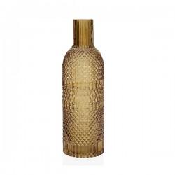 Vase bouteille en verre ambré