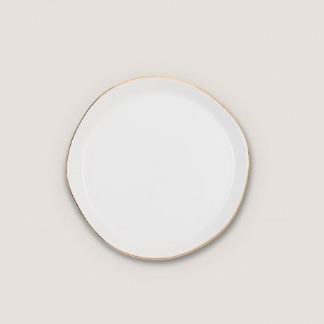 Petite assiette blanche avec liseré doré