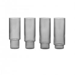 Set de 4 verres longs Ripple gris