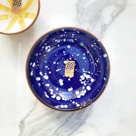 Bol en céramique Salpico bleu et blanc