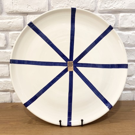 Grand plat en céramique Ray bleu