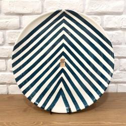 Grand plat en céramique Chevrons bleu canard
