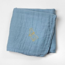 Lange en gaze de coton Bleu brodé