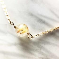 Bracelet Quartz rutile doré plaqué or 18k