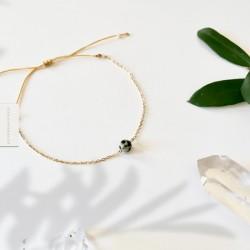 Bracelet Jaspe dalmatien plaqué or 18k