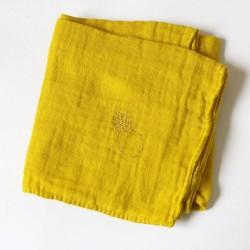 Lange en gaze de coton Moutarde brodé