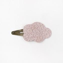 Barrette en cuir nuage rose