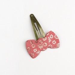 Barrette en cuir noeud fleuri