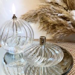 Petite lampe à huile ellipse en verre strié