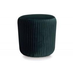 Pouf rond en velours vert