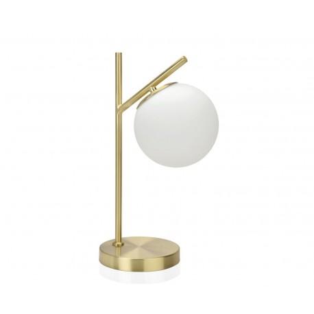 Lampe à poser globe en métal doré