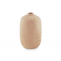 Vase en céramique beige avec reliefs