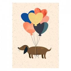Carte Teckel & love balloon