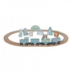 Circuit de train en bois bleu