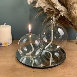 Grande lampe à huile sphère en verre