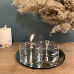 Lampe à huile cylindre plate en verre