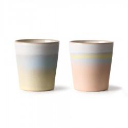 2 mugs en céramique 70's Horizon
