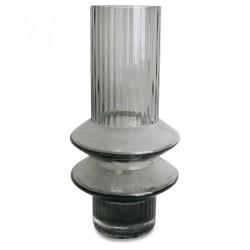 Vase zig gris en verre