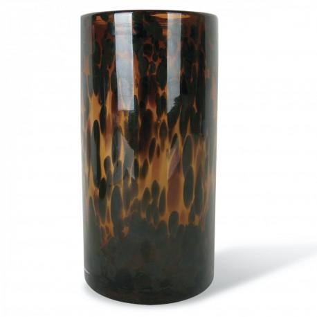 Vase tube en verre Léopard