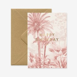 Carte Happy Birthday forêt rose