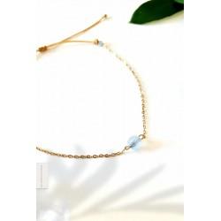 Bracelet Aigue Marine plaqué or 18k