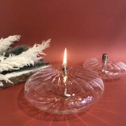 Lampe à huile ellipse en verre striée XL