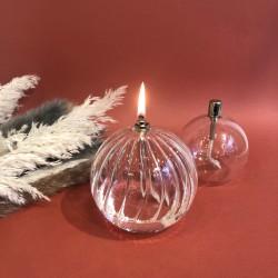 Lampe à huile sphère en verre strié M