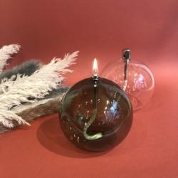 Lampe à huile sphère en verre vert M