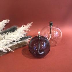 lampe à huile sphère en verre fumé S
