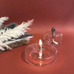 Lampe à huile cylindre plate en verre M