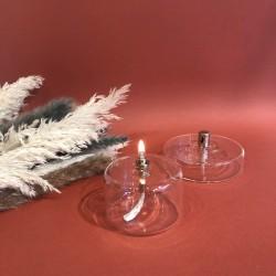 Petite lampe à huile cylindre en verre s