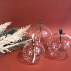 Lampe à huile en verre petite sphère S
