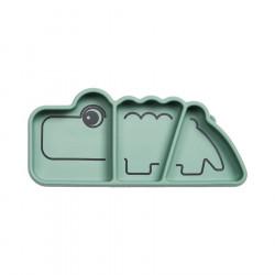 Assiette compartimentée en silicone Croco vert