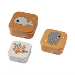 Set de 3 boites pour le goûter Sea Friends moutarde & gris