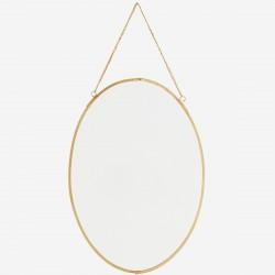 Miroir ovale doré à suspendre