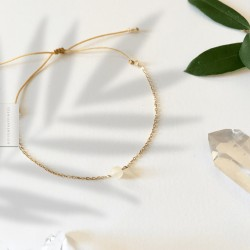 Bracelet Jade jaune plaqué or 18k
