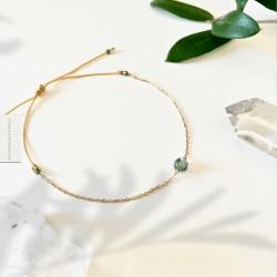Bracelet Agate mousse plaqué or 18k