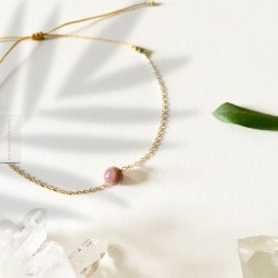 Bracelet Tourmaline rose plaqué or 18k